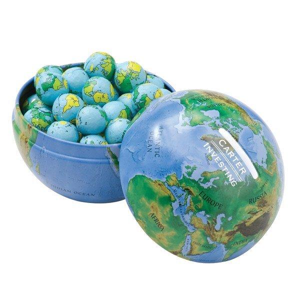 Globe Tin Bank w/ Chocolate Earth Balls