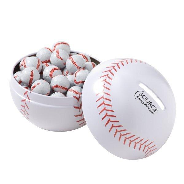 Baseball Tin Bank w/ Chocolate Baseballs