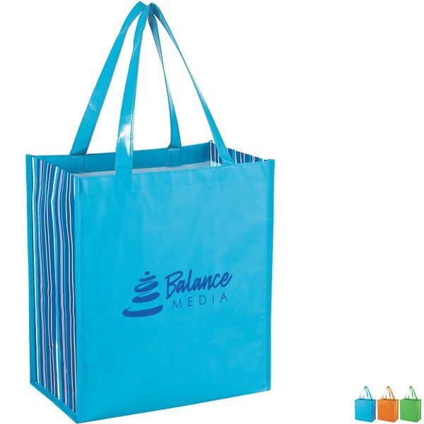Shiny Laminated Tropic Non-Woven Shopper Tote