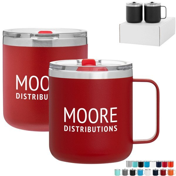 Spark & Camper Powder Coated Double Wall Mug Gift Set in White Box