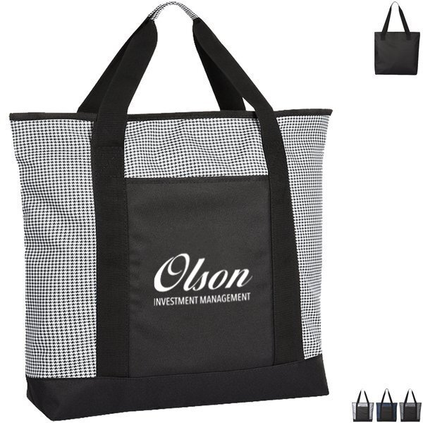 Hunter Houndstooth Polyester Tote Bag