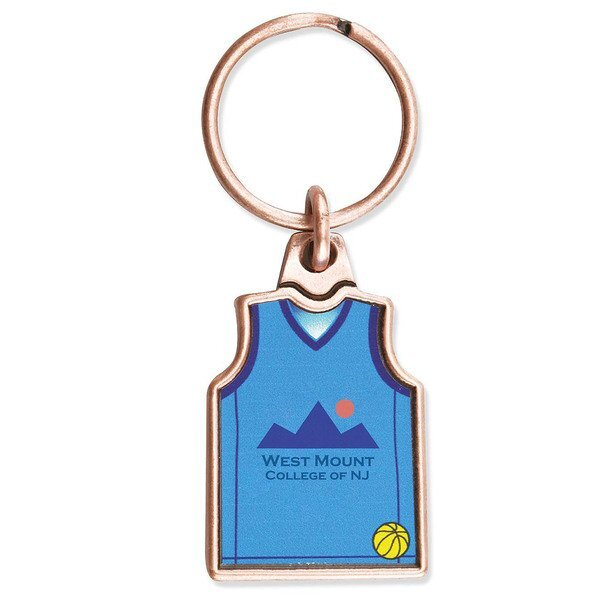 Basketball Jersey Metal Key Chain w/ Full Color Imprint