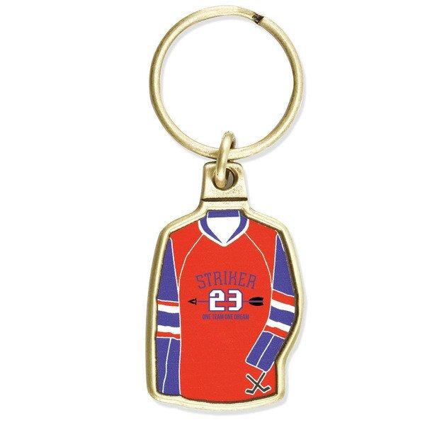Hockey Jersey Metal Key Chain w/ Full Color Imprint