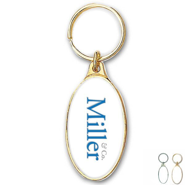 Oval Metal Key Chain w/ Full Color Imprint