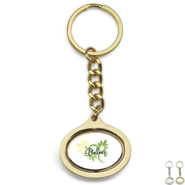Oval Rotating Metal Key Chain w/ Full Color Imprint