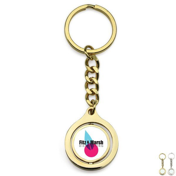 Round Rotating Metal Key Chain w/ Full Color Imprint