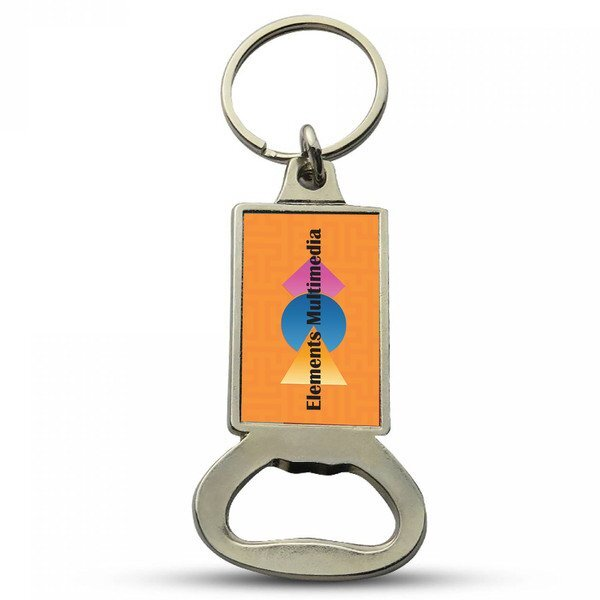 Rectangular Bottle Opener Key Chain w/ Full Color Imprint