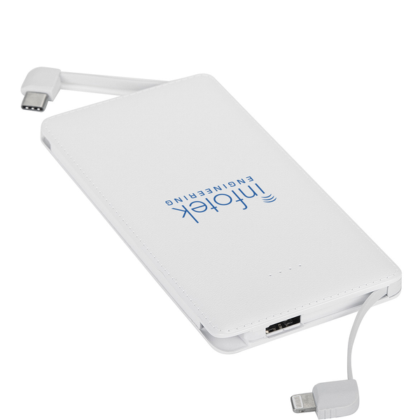 Textured Built-In Cable Power Bank, 5000mAh