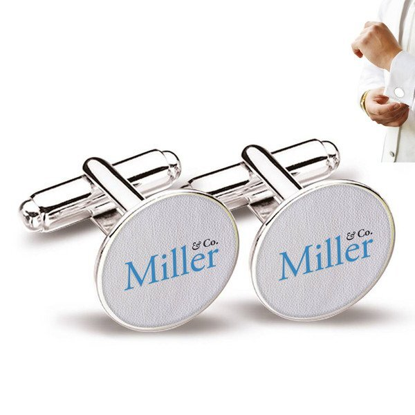 Round Cuff Links w/ Full Color Imprint