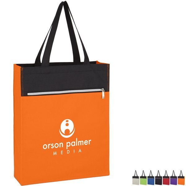 Cadence Polyester Zip Pocket Tote Bag