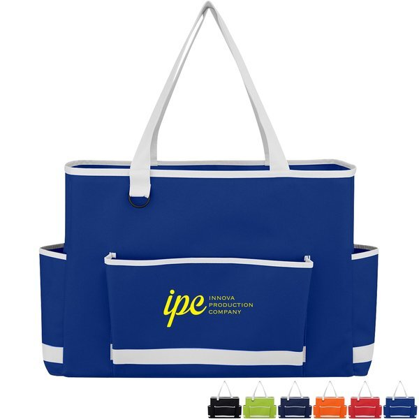 Tri-Pocket Polyester Tote Bag