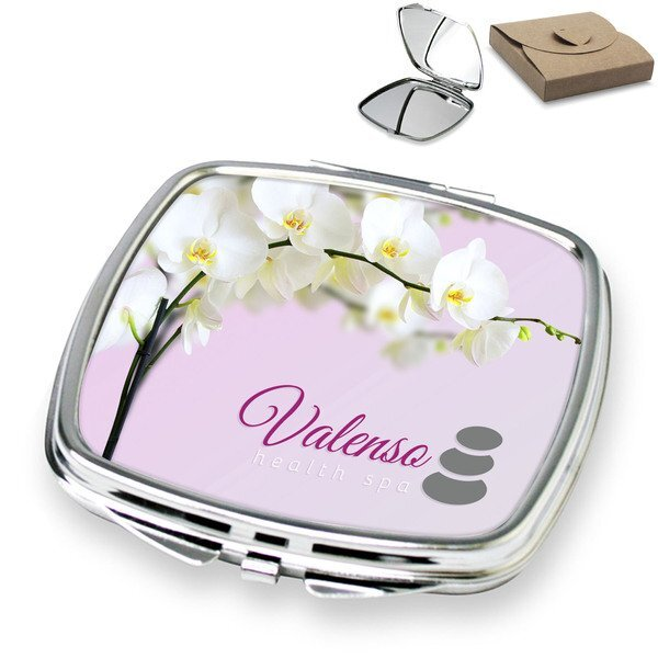 Luxury Square Compact Mirror w/ Full Color Imprint