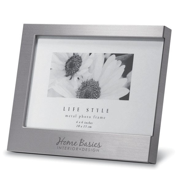 "C Brushed Aluminum Photo Frame, 4"" x 6"""