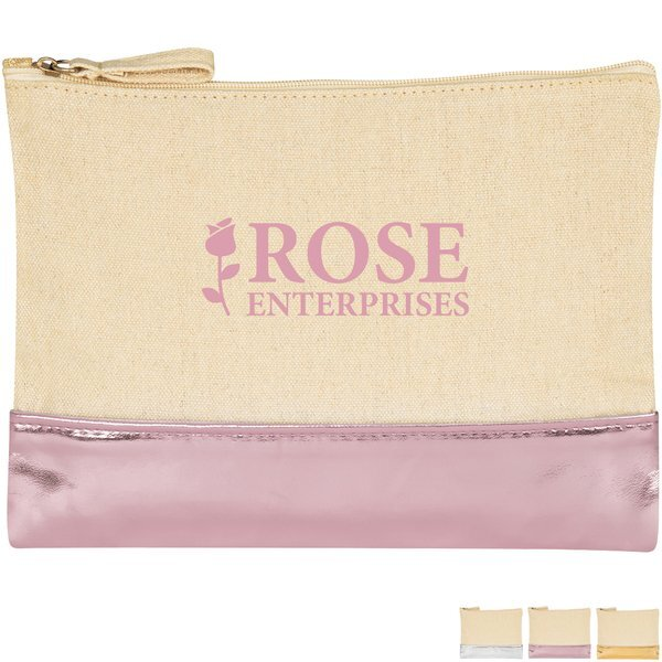 Cotton Cosmetic Bag w/Metallic Accent
