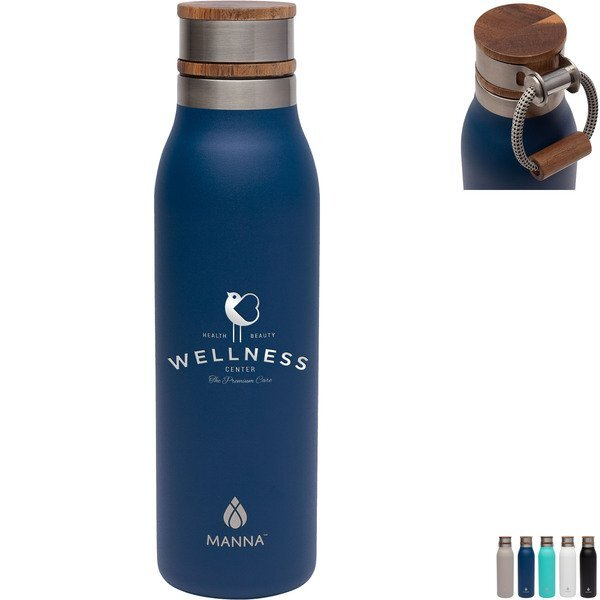 Manna™ Ascend Stainless Steel Water Bottle w/ Acacia Lid, 18oz.