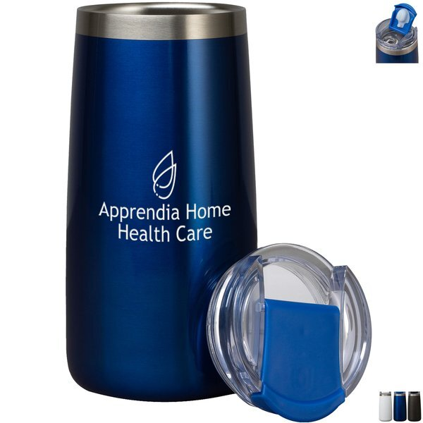 Perka® Erie Double Wall Stainless Steel Tumbler, 16oz.