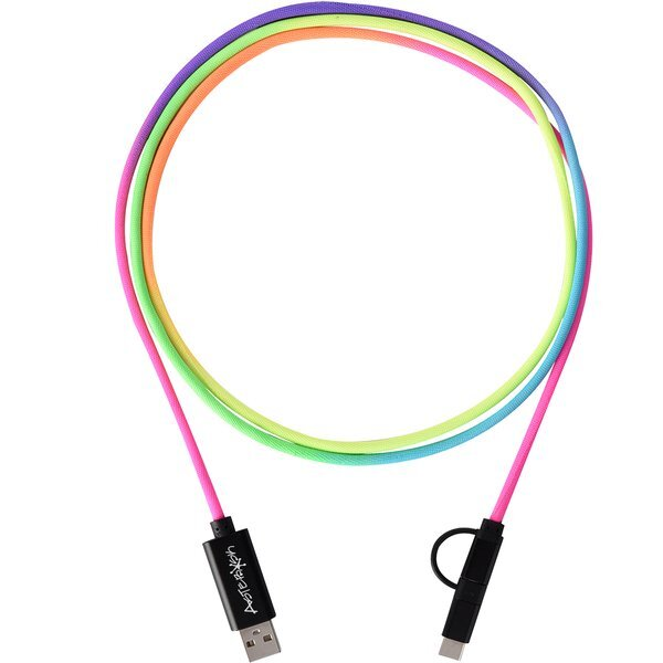 Rainbow Braided 3-in-1 Charging Cable, 5 Ft.