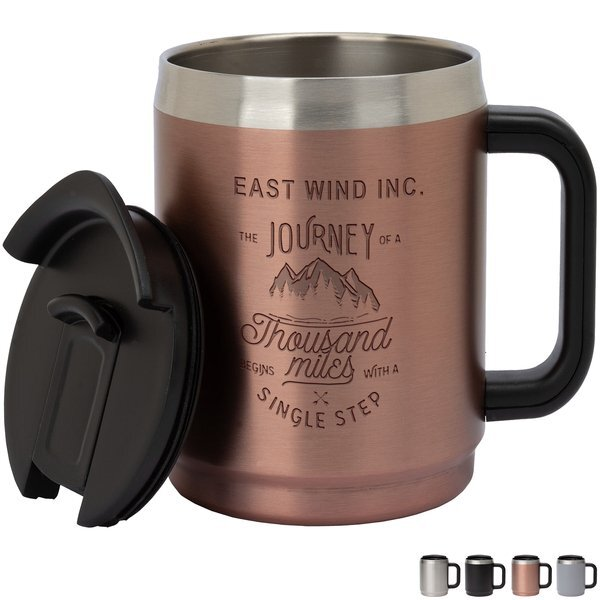 Manna™ Boulder Stainless Steel Camping Mug w/ Handle, 14oz.