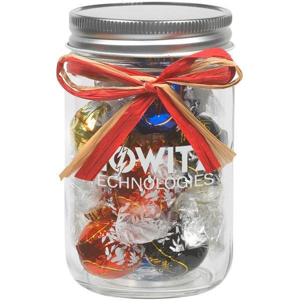 Raffia Bow Glass Mason Jar with Lindt® Truffles, 12oz.