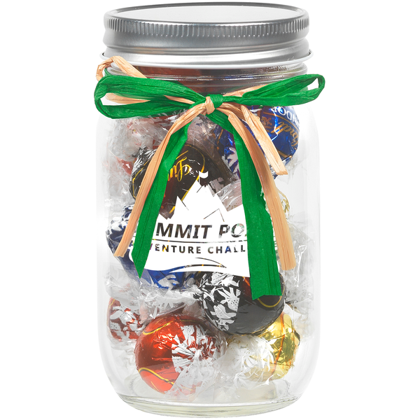 Raffia Bow Glass Mason Jar with Lindt® Truffles, 16oz.