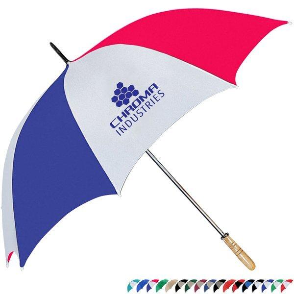 """Wood Handle Manual Open Golf Umbrella, 60"""" Arc"""