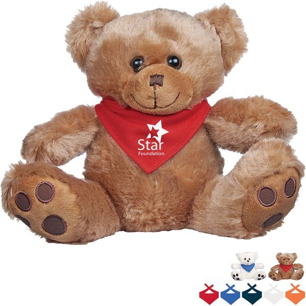 Plush Big Paw Bear w/ Bandana, 8-1/2""