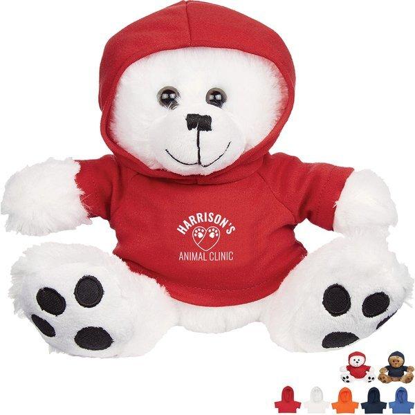 "Plush Big Paw Bear w/ Hoodie, 8-1/2"""
