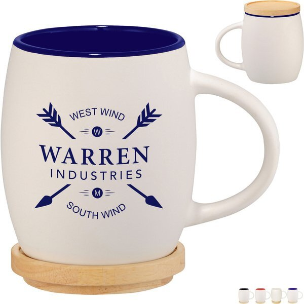 Hearth Ceramic White Matte Mug with Wood Coaster/Lid, 15oz.