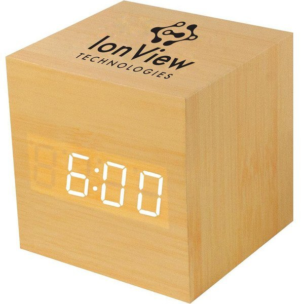 Square Wooden LCD Alarm Clock w/ Sound Activation