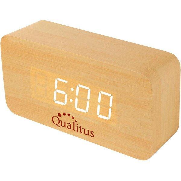 Rectangular Wooden LCD Alarm Clock w/ Sound Activation