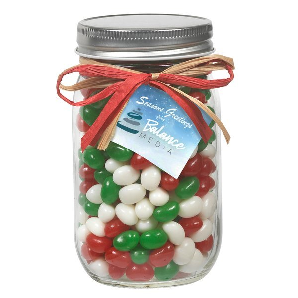 Raffia Bow Glass Mason Jar with Holiday Gourmet Jelly Beans, 16oz.