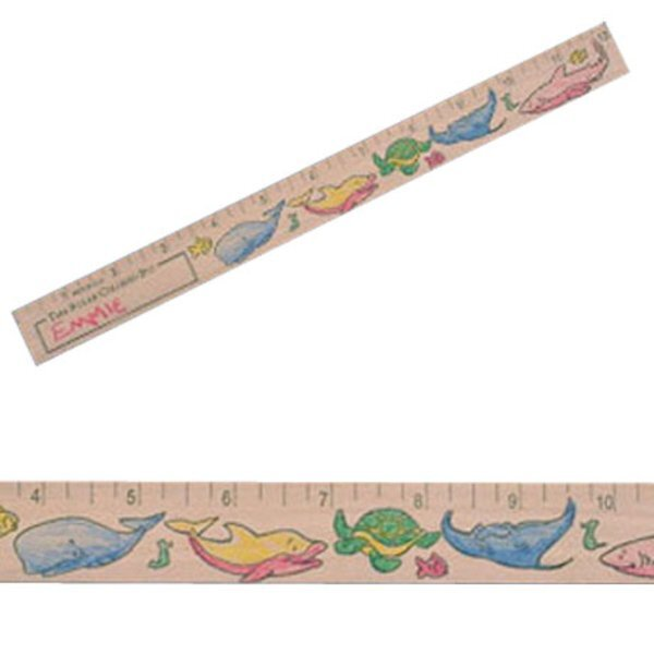 "Color-Me Natural Finish Ruler, 12""- Marine Life Theme"