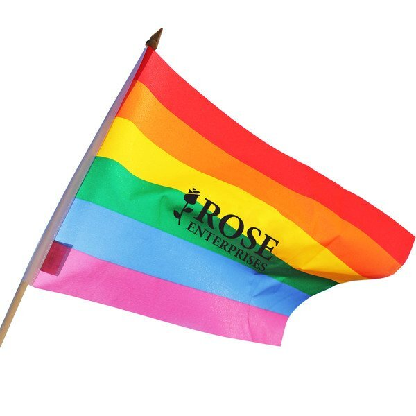 """Rainbow Flag w/ Wood Stick, 12"""" x 18"""""""