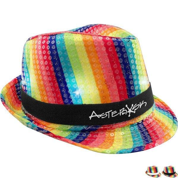 Rainbow Sequin LED Fedora Hat