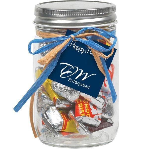 Raffia Bow Glass Mason Jar with Hershey's® Everyday Mix™, 12oz.