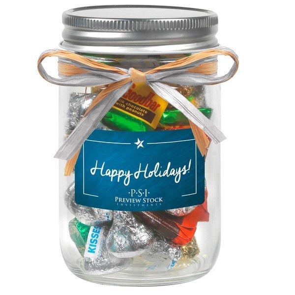 Raffia Bow Glass Mason Jar with Hershey's® Holiday Mix, 12oz.