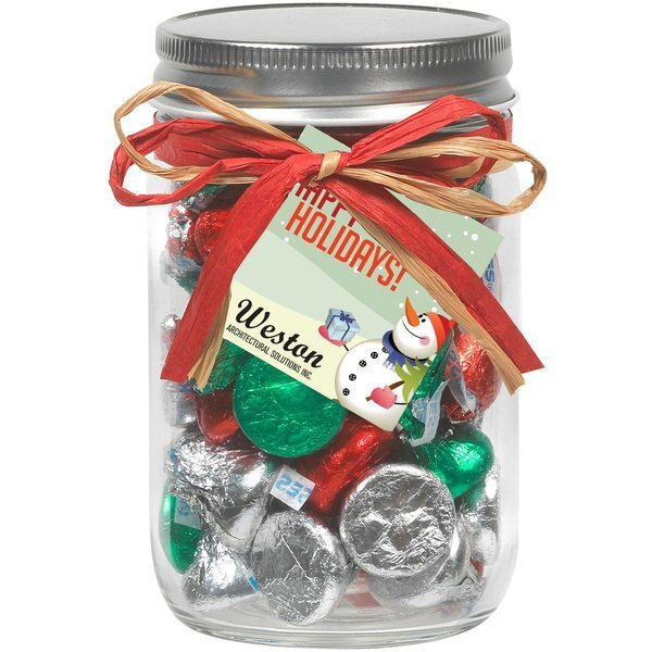 Raffia Bow Glass Mason Jar with Hershey's® Holiday Kisses®, 12oz.