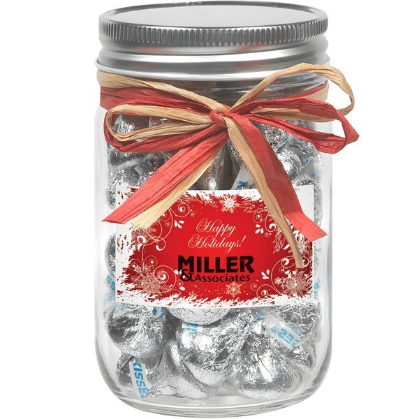 Raffia Bow Glass Mason Jar with Hershey's® Kisses®, 12oz.