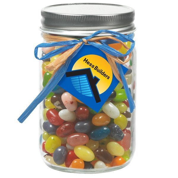 Raffia Bow Glass Mason Jar with Jelly Belly® Jelly Beans, 12oz.