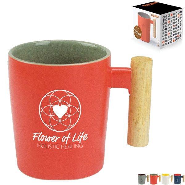 Wood Handle Ceramic Mug, 15oz.
