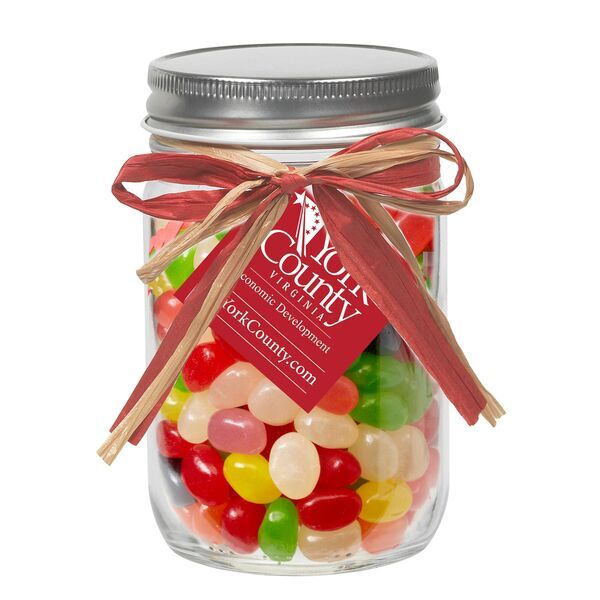 Raffia Bow Glass Mason Jar with Assorted Jelly Beans, 12oz.