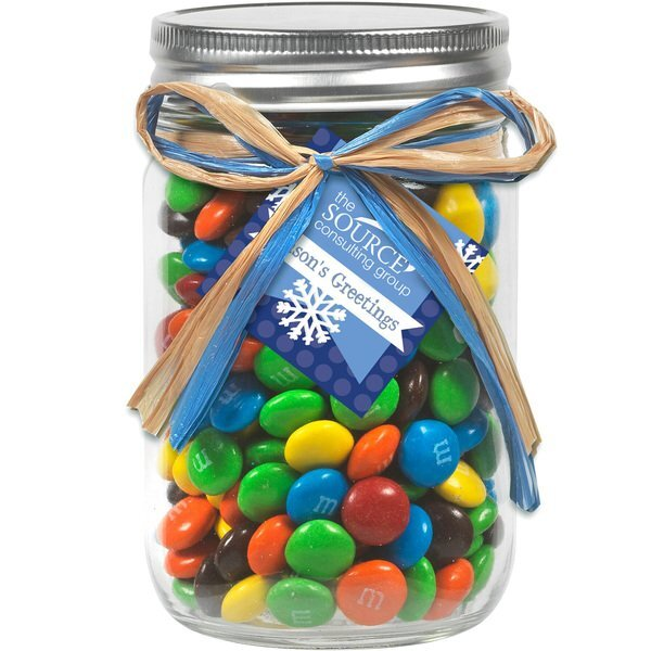 Raffia Bow Glass Mason Jar with M&M's® , 12oz.