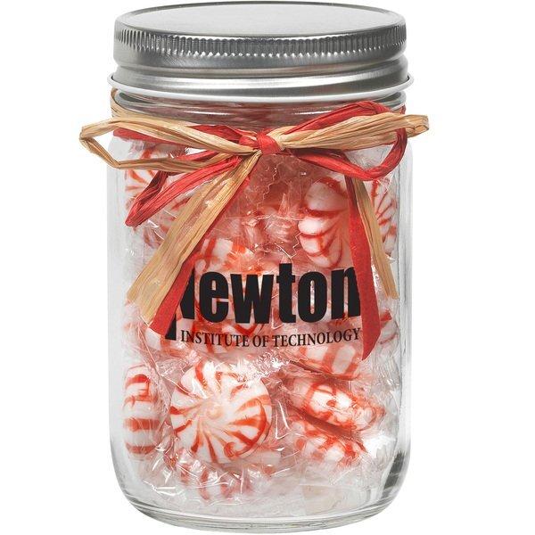 Raffia Bow Glass Mason Jar with Starlight Mints, 12oz.