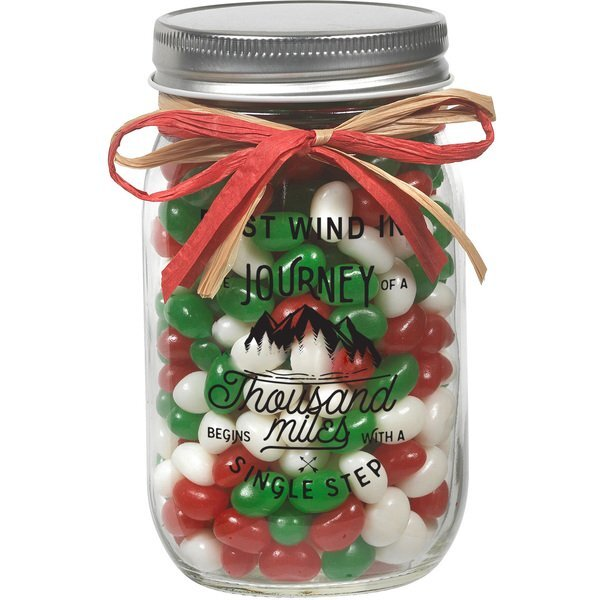 Raffia Bow Glass Mason Jar with Holiday Gourmet Jelly Beans, 12oz.