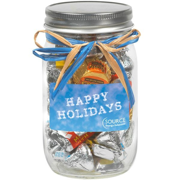 Raffia Bow Glass Mason Jar with  Hershey's® Everyday Mix™ , 16oz.