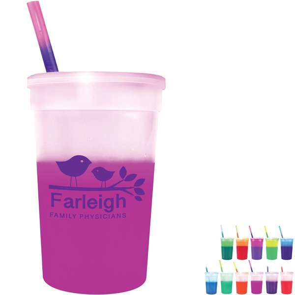 Mood Color Changing Stadium Cup Straw & Lid Set, 22oz.