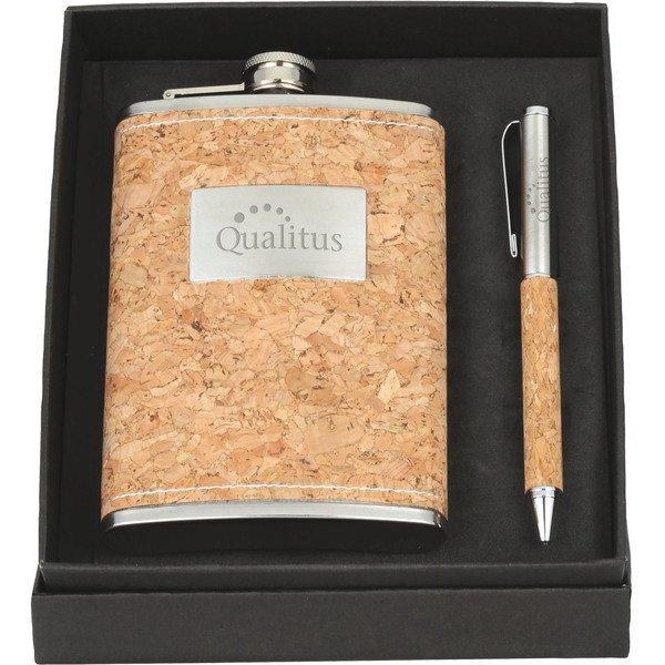 Cork Flask & Pen Set