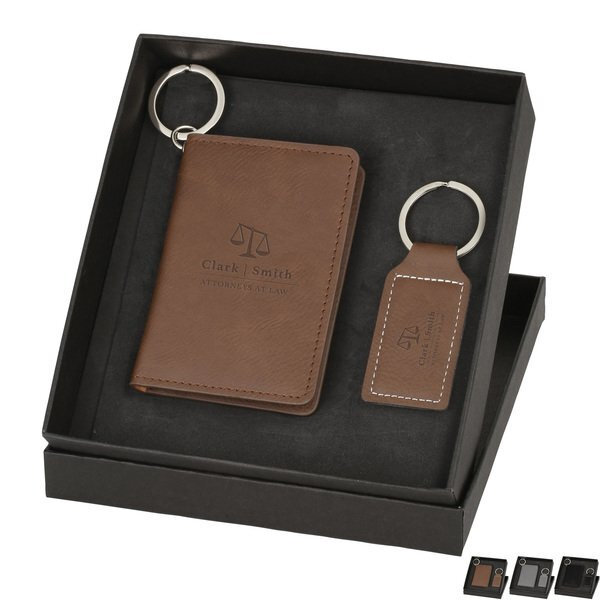 Wallet & Keychain Leatherette Set