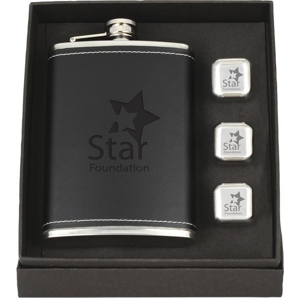 Flask & Whiskey Cube Leatherette Set