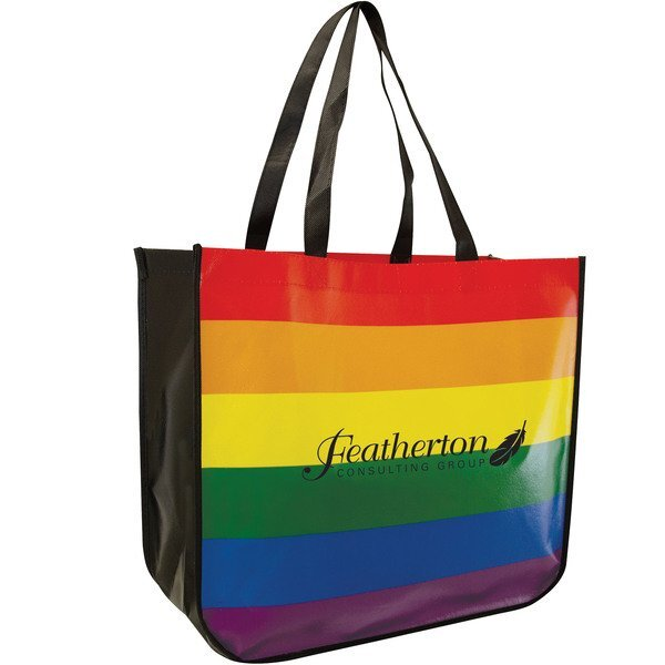 Rainbow Recycled Laminated Non-Woven Large Tote